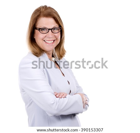 middle aged caucasian woman wearing business on white background