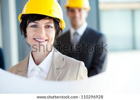 middle aged construction businesswoman closeup portrait - stock photo