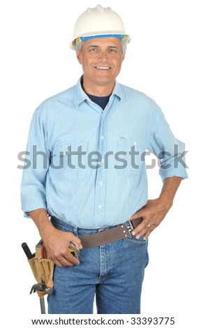 Middle Aged Construction Worker wearing toolbelt and Hard Hat isolated on white - stock photo