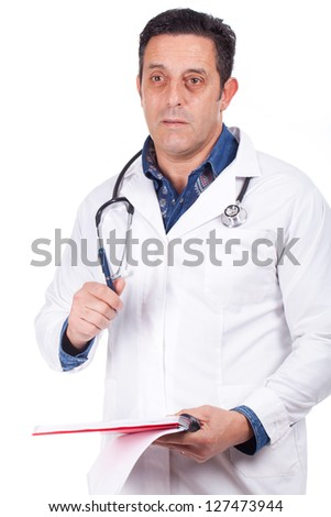 Middle Aged Doctor in Scrubs and Lab coat with Stethoscope closeup - stock photo
