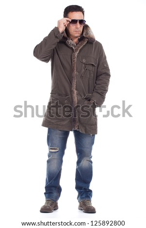 middle aged dressed in winter clothing - stock photo