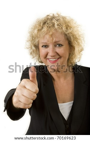 Middle aged female portrait curly hair and business dress