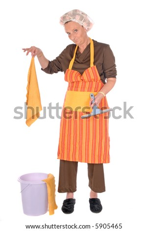 Middle aged housewife with curlers in hair and net on head, wearing colorful apron.  house cleaning utensils on the side.