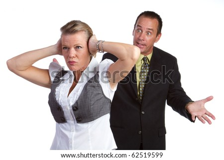 Middle aged isolated couple fighting