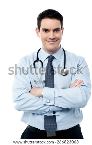 Middle aged male doctor posing with confidence