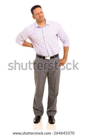 middle aged man having back pain isolated on white background - stock photo