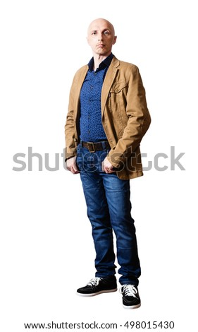Middle-aged man in a yellow jacket and blue jeans