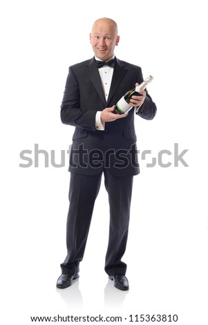 Middle aged Man in Tuxedo Holding a Champagne Bottle over a white background - stock photo