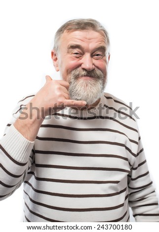 middle-aged man making a hand sign Call me - stock photo