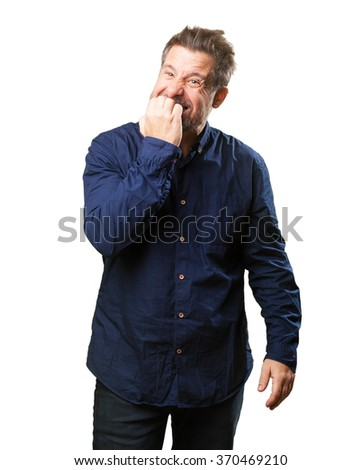 middle aged man nervous - stock photo