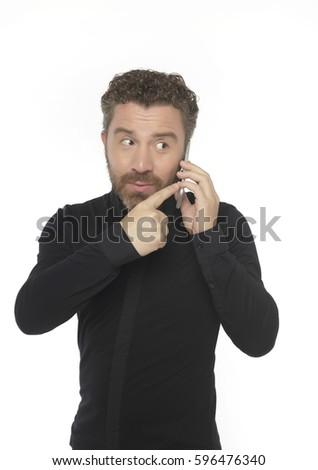 Middle-aged man playing on the phone,white background