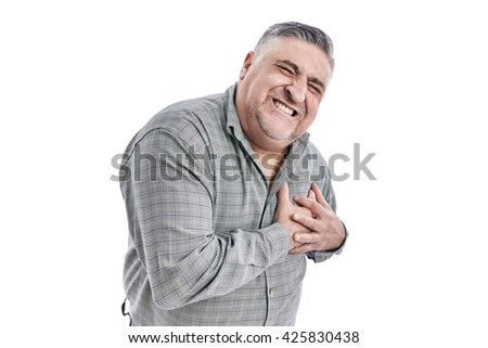 Middle-aged man suffering from heart attack. Middle aged man suffering chest pain on white background.Negative human emotion, facial expressions, feelings - stock photo