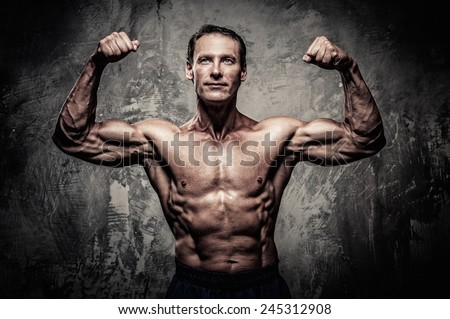Middle-aged man with muscular body