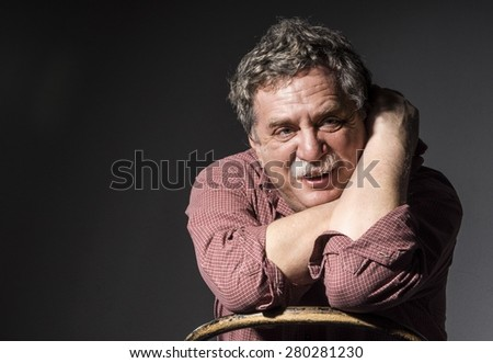 middle-aged man with mustache  - stock photo
