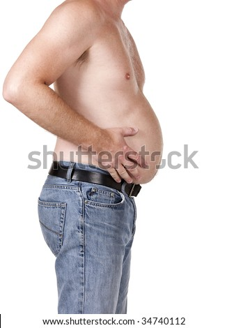 Middle aged man with too big stomach - stock photo