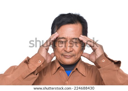 middle aged man, worry gesture - stock photo