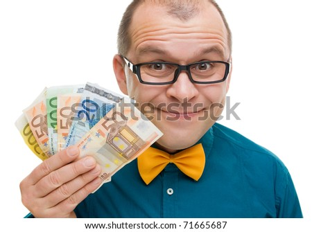Middle aged prize winner with euro money isolated on white background - stock photo