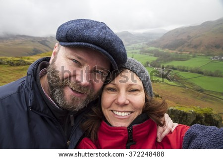 Middle aged selfie, Lakes district, UK