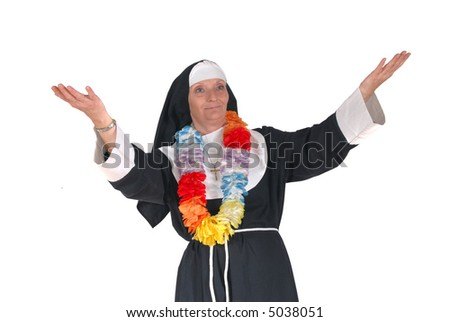 Middle aged  sister, nun going on vacation to hawaii.  Religion, christianity, lifestyle, vacation, holiday concept