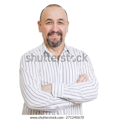 Middle aged smiling tatar man isolated on white background  - stock photo