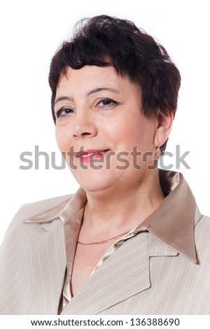 Middle aged smiling woman isolated on white background - stock photo