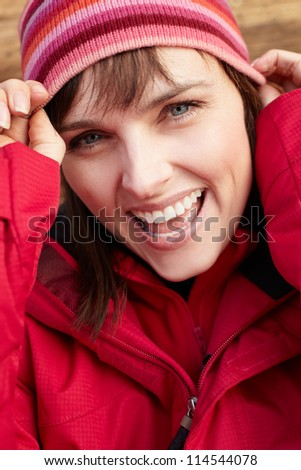 Middle Aged Woman Dressed For Cold Weather - stock photo