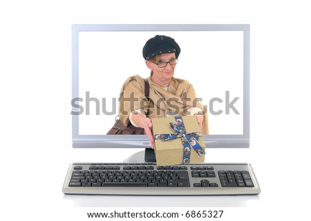 Middle aged woman handing over Xmas present, on line Christmas shopping.  White background, copy space