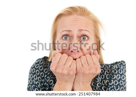 middle aged woman having fear isolated over white background - stock photo