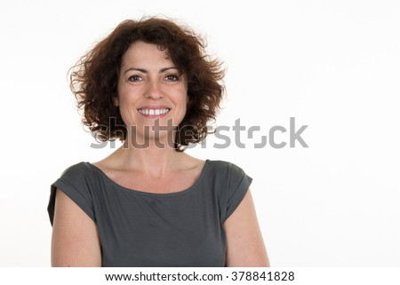 Middle aged woman isolated on a white background - stock photo