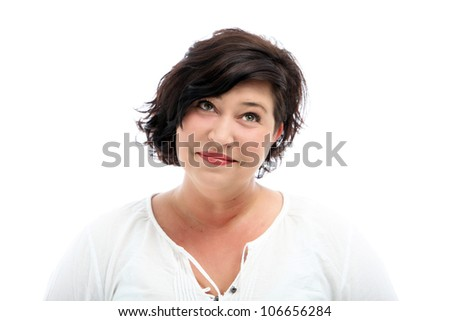 Middle-aged woman laughs  Middle-aged woman laughs - Isolated on white - stock photo