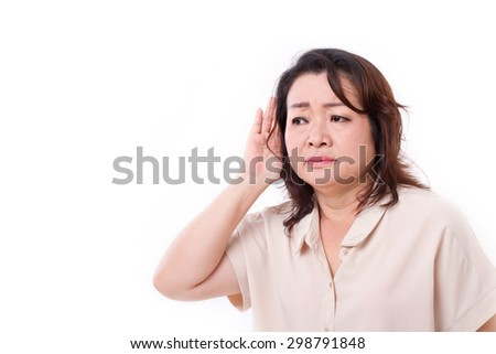 middle aged woman listening to bad news