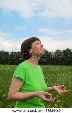 middle-aged woman, meditation, mudra knowledge
