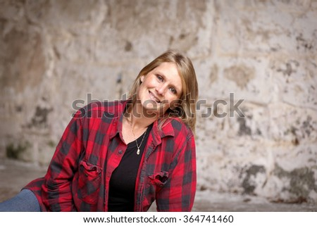 Middle aged woman relaxing - stock photo