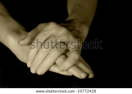 Middle aged woman's hands
