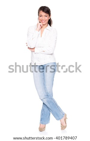 Middle aged woman standing in front of white background