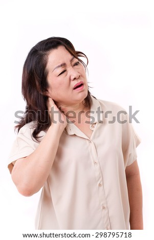 middle aged woman suffering from neck pain