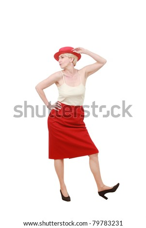 Middle aged woman with a hat - stock photo