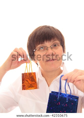 middle-aged women with a paper gift bags