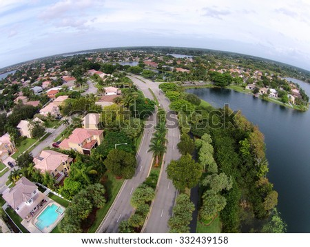Middle class neighborhood in Florida aerial view - stock photo