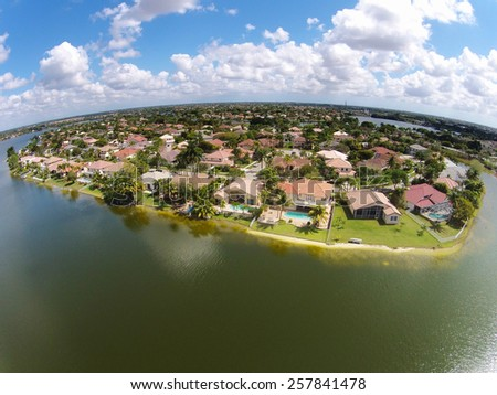 Middle class waterfront homes in Florida aerial view