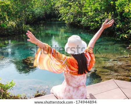 Middle Creek woman relaxing - stock photo