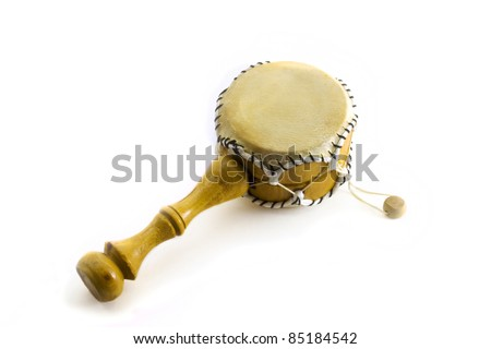Middle drum on the white background. - stock photo