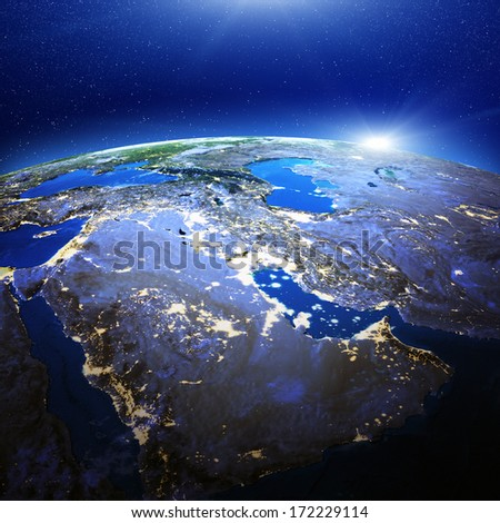Middle East and Gulf city lights. Elements of this image furnished by NASA - stock photo