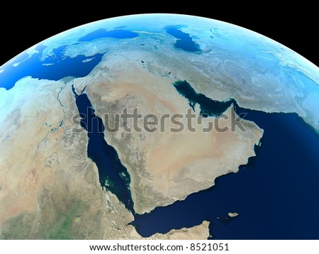 Middle East as seen from Space - stock photo
