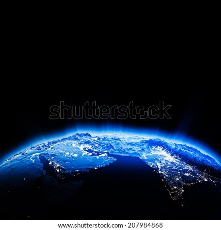 Middle East city lights. Elements of this image furnished by NASA