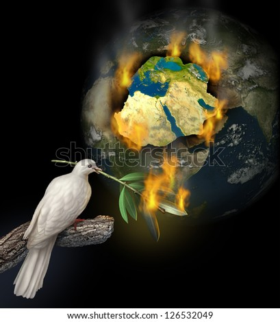 Middle East conflict as a burning map of Egypt Syria Iran Israel Saudi Arabia Libya Yemen Iraq with a white dove holding a burning olive branch for the tragedy of war and political problems.