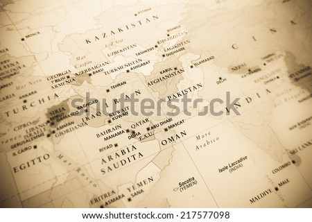 Middle East (Geographical view altered on colors/perspective and focus on the edge. Names can be partial or incomplete) - stock photo