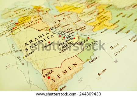 Middle East geographical view (Geographical view altered on colors/perspective and focus on the edge. Names can be partial or incomplete)