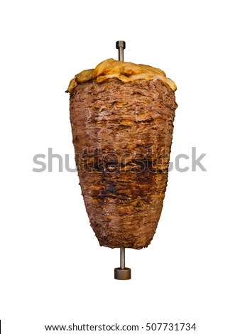 Middle East grilled skewered lamb mutton, traditional meat served in shawarma or kebab sandwich in Mediterranean, Arab countries cooked skewered on spit isolated on white background