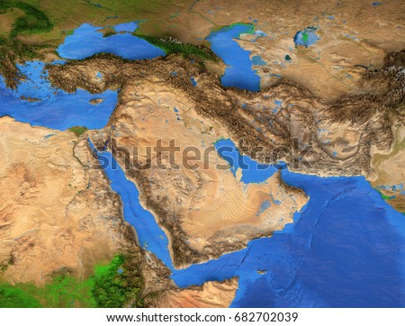 Middle East Map Gulf Region Detailed Stock Illustration 682702039